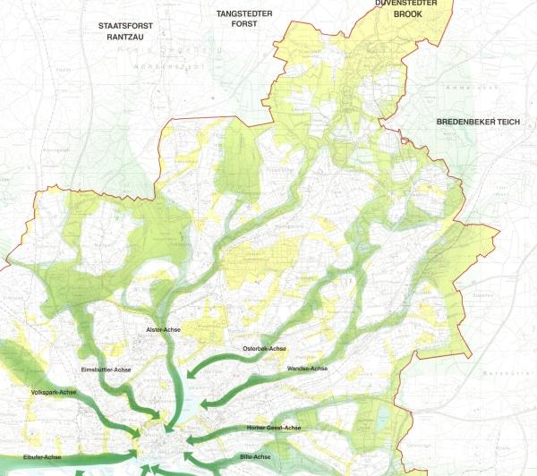 Kartendarstellung der nördlichen Kaltluftachsen Hamburgs